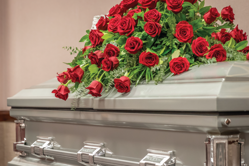 Beautiful red rose casket spray